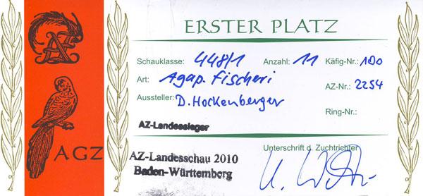 Landesieger 2010 Käfigkarte